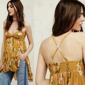 Free People Yellow Floral Tunic Top